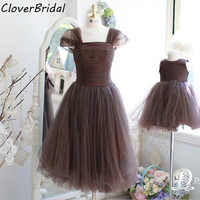 Free Custom Made 2 Pieces 99USD Tulle Chiffon Short Fashion Family Coffee Mother Daughter Dresses Matching