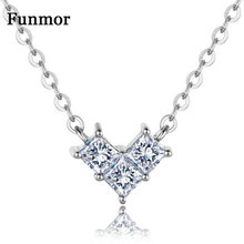 Funmor Small Cubic Zircon Heart 925 Sterling Silver Necklace For Girls Female Engagement Dinner Party Routine Accessories Gifts