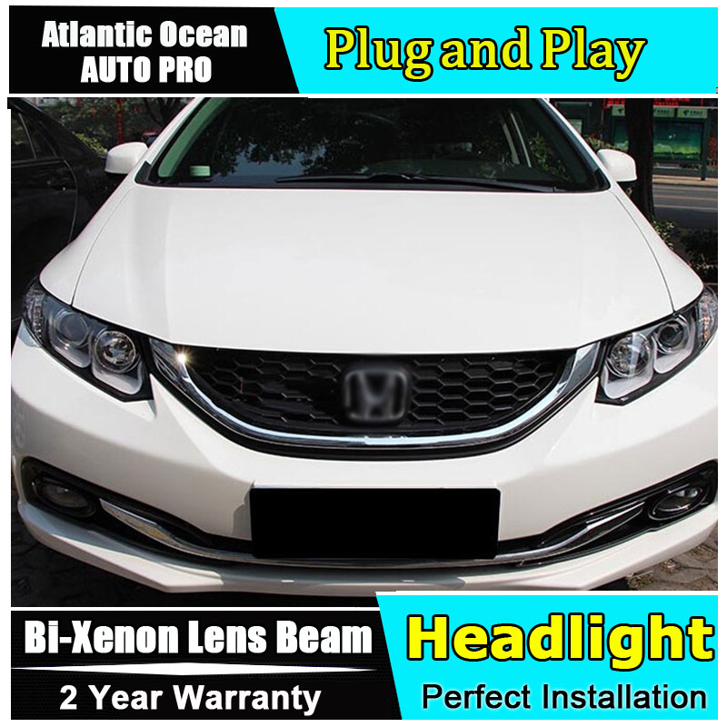 AUTO.PRO Double U-Angel Eyes LED DRL For Honda civic LED headlights 2011-2014 Bi-xenon Double lens car styling H7 parking car li car styling for honda crv headlights u angel eyes drl 2012 for honda crv led light bar drl bi xenon lens h7 xenon