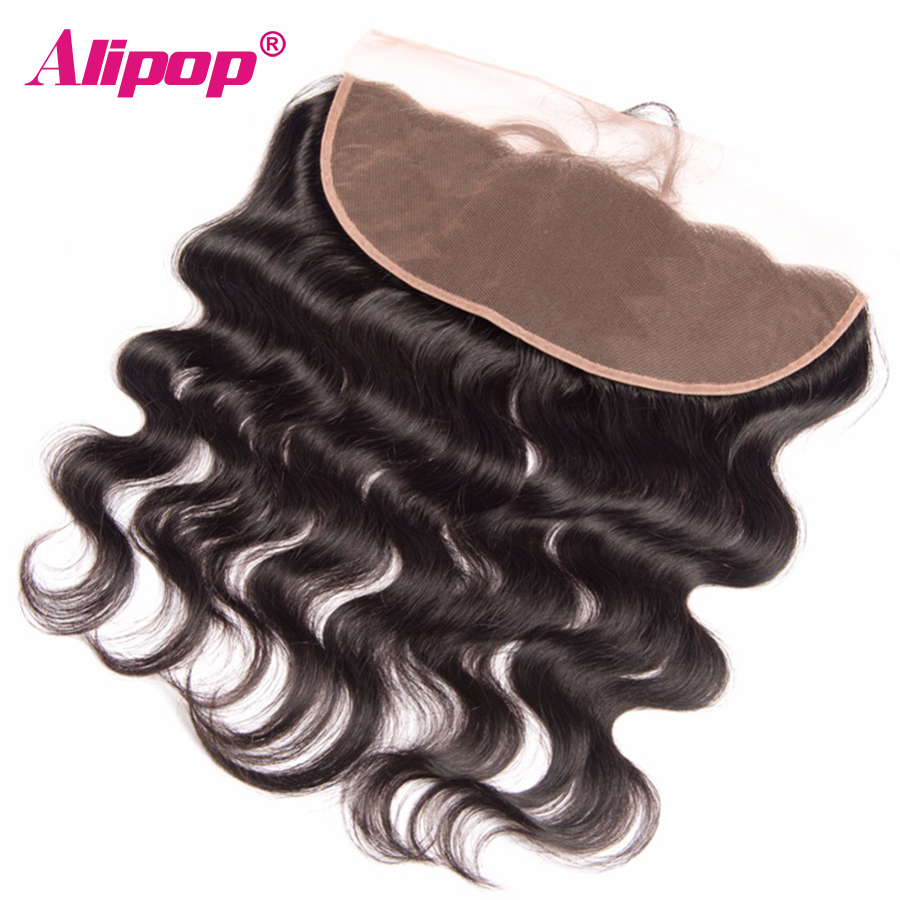 ALIPOP Brazilian Lace Frontal Closure With Baby font b Hair b font Remy Body Wave