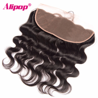 ALIPOP Brazilian Lace Frontal Closure With Baby Hair Remy Body Wave Hair 100 Human Hair
