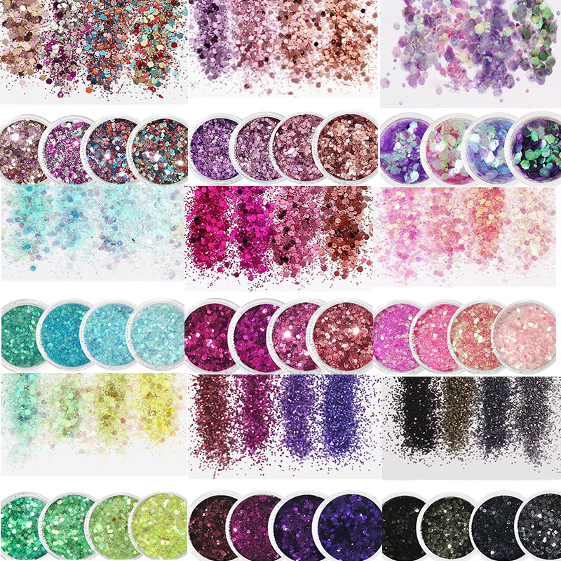 Holographic Effect Nail Glitter SET For UV Gel Polish 10ml/Jar Fine Glitter Sparkles Acrylic Nailart Glitter  Manicure Dust 4jar-in Nail Glitter from Beauty & Health