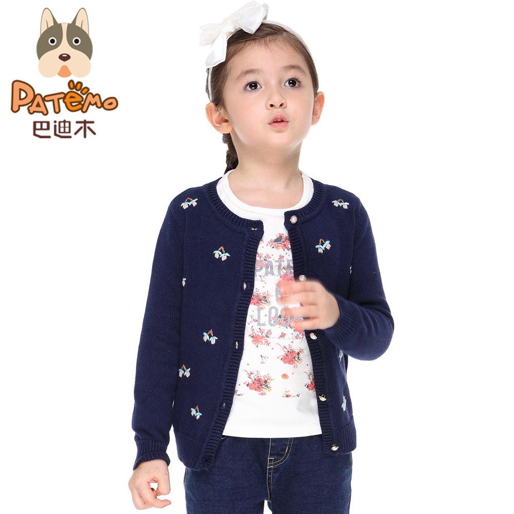 PATEMO Girls Cardigan Cotton Sweater Girl O Neck Pink and Navy ...