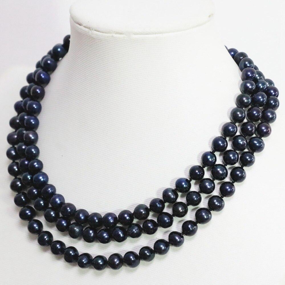 Natürliche schwarz süsswasser-zuchtperlen-halskette 8-9mm runde perlen klassische romantische trendy lange kette halskette schmuck 50 zoll B1474