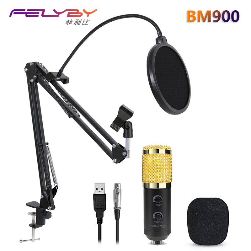 HOT! FELYBY mikrofon bm 800 upgraded bm 900 professional USB studio computer condenser microphone for video recording & Karaoke professional recording studio condenser microphone bm700 set mic mikrofon karaoke microfono pc with shock mount microphone stand