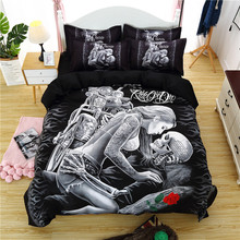 Skull Mr/Lady 3D Printing Bedding Set Flower Bed Linen 3pcs/set Duvet Cover Pastoral AB Side Fashion Pillowcase