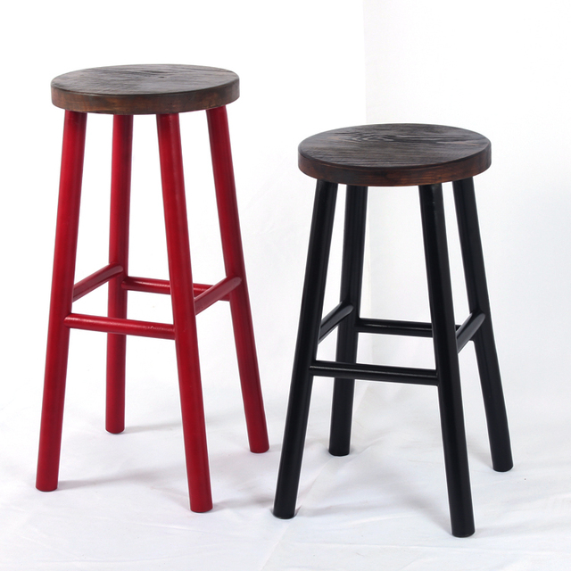American Bar Chairs Minimalist Wood Bar Stool High Chair High Chair Retro  Fashion Creative Bar Stool
