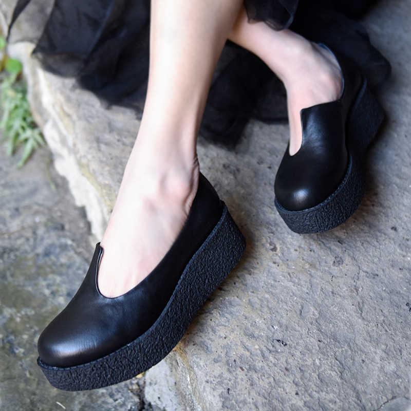 ¡Novedad! zapatos de tacón de cuña de plataforma artmu originales, zapatos de tacón grueso de piel auténtica hechos a mano, zapatos de tacón redondo de punta fina 155820L