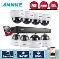 ANNKE 8CH 1080 P NVR сеть видеонаблюдения Системы 8 шт. 2.0MP PoE купол безопасности Камера s IR WDR видеонаблюдения камера Системы 1 ТБ HDD