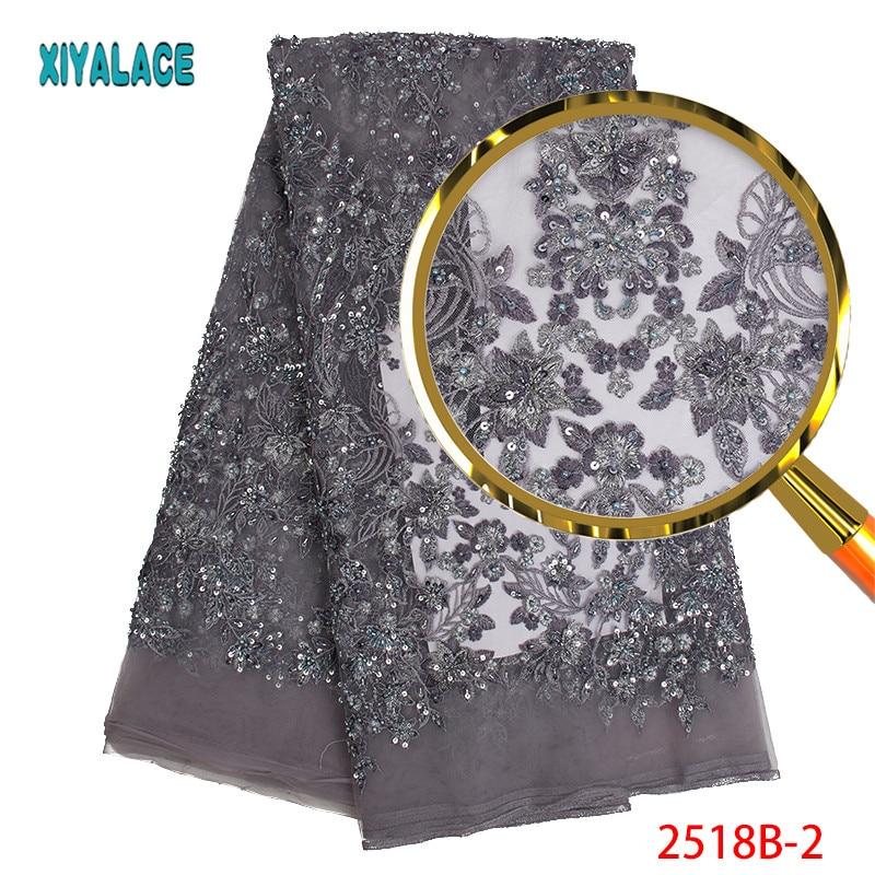 Tela de encaje Luxry de alta calidad tela de encaje africano bordado de encaje cuentas hechas a mano para tela de encaje nupcial 5 yardas PGC2518B 2-in encaje from Hogar y Mascotas    2
