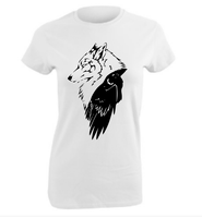 Wolf Raven fantasy white cotton t-shirt ladies Wicca Pagan top shirt women's