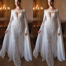 Special Design With Cape White Appliques Lace Evening dresses Long Women Formal Gown Gowns Deep V Mermaid Dresses