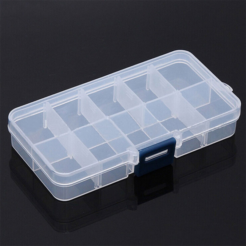 10 Grids Small Component Jewelry Box Adjustable Transparent Plastic Bead Pills Box Nail Art Tip Box Dressing Table Storage