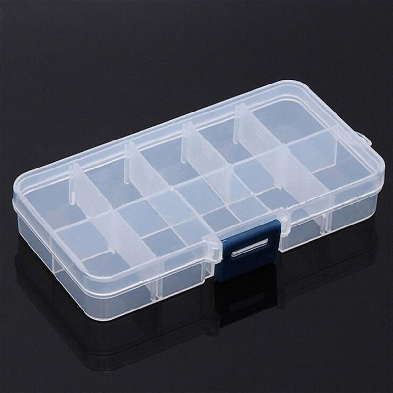 10 Grids Small Component Jewelry Box Adjustable Transparent Plastic Bead Pills Box Nail Art Tip Box Dressing Table Storage