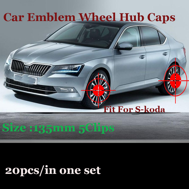 Practicality 20pcs 135MM 5clips Covers Car Badge Emblem Wheel Hub Center Caps For Octavida Bora Jetta Fabia Superb Yeti