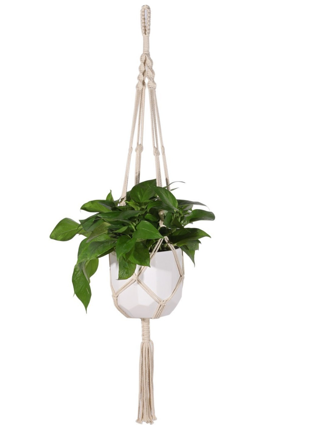 Macrame Plant Hanger Heavy Duty Patio Balcony Deck Ceiling For Round Pots  Indoor Outdoor Decorative Plantsu2013cotton Rope | The Bargain Paradise