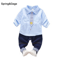Baby Boys Clothing Sets New Spring Autumn Baby Boys Clothes 2pcs Blue Jeans Cotton Long Sleeve