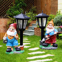 Outdoor Garden Decoration Resin Cartoon Dwarfs Sculpture Crafts Solar Light Ornaments Lawn Landscape Courtyard Figurines Decor