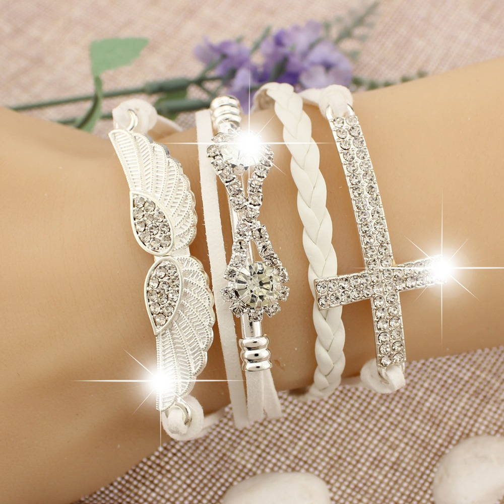 accessories jewelry bracelet charm elegant friendship cross leather bangle bracelets infinity wings