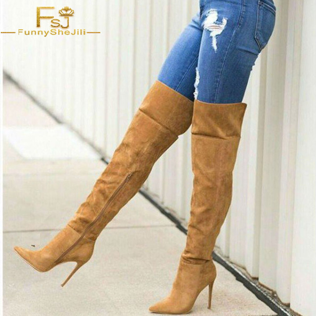 533a1b8769d Tan Wide Calf Women Boots Pointy Toe Over the Knee Autumn