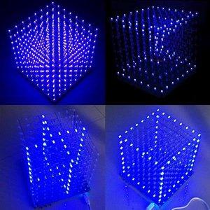 Image 3 - 무료 배송 공장 가격 프로모션!!! 8x8x8 LED 큐브 3D 라이트 스퀘어 블루 LED 전자 DIY 키트 강화 능력