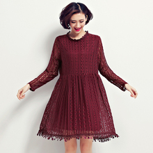 2016 Autumn Women Dress Fashion Girls Casual Dresses Long Sleeved office sexy Lace Dress High Quality Black vestido de festa