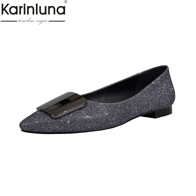 Bureau Flambant Classiques Lady 2019 Confortable Femmes Ins Chaussures Neuf Style Beige argent De Mature Appartements Karinluna Élégant oCeWdxBr