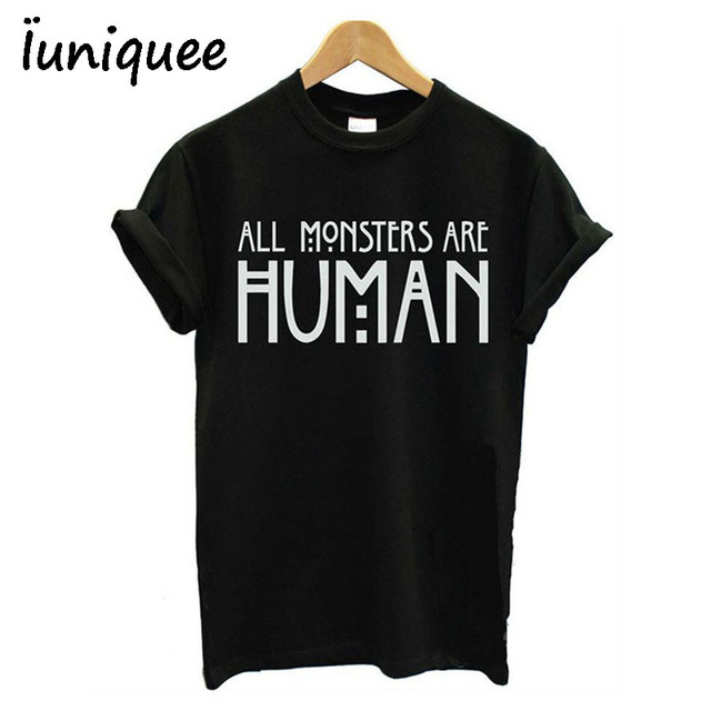 8fdf3d208f6d7 Tumblr Camisa Roupas Femininas Todos Os Monstros São Humanos Cropped Tops  de Manga Curta top colheita