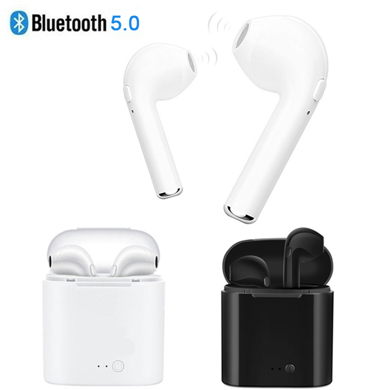 5.0 I7 S TWS Bluetooth Earphone For Apple Iphone 5s 6 6s 7 8 X Samsung S8 S9 Xiaomi Huawei True Wireless Earbuds + Charging Dock