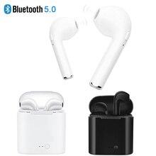 5.0 i7 s TWS Bluetooth Kulaklık Apple iphone 5s 6 6s 7 8 x Samsung s8 s9 Xiaomi Huawei gerçek kablosuz kulaklık + şarj standı