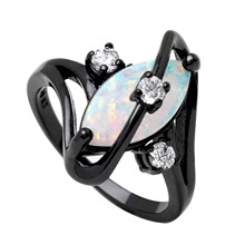 Hot Sale Black Gun Plated Rings Crossed Marquise Fire Opal Rings With Aaa Cubic Zircon Best Gift Wedding Ring White Opal austrialian fire opal marquise shape 5 10mm 100% natural gemstone ring with moissanite in 14k rose gold with gift box