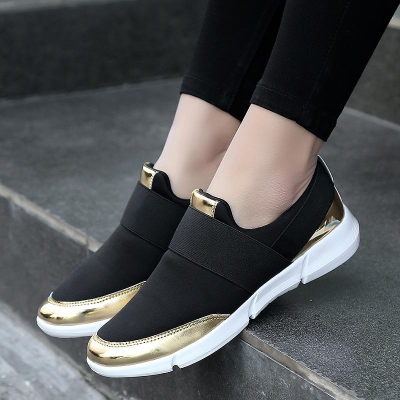 Women Casual Shoes Slip On Female Footwear Women's Vulcanize Shoes Gold Silver Women Sneakers