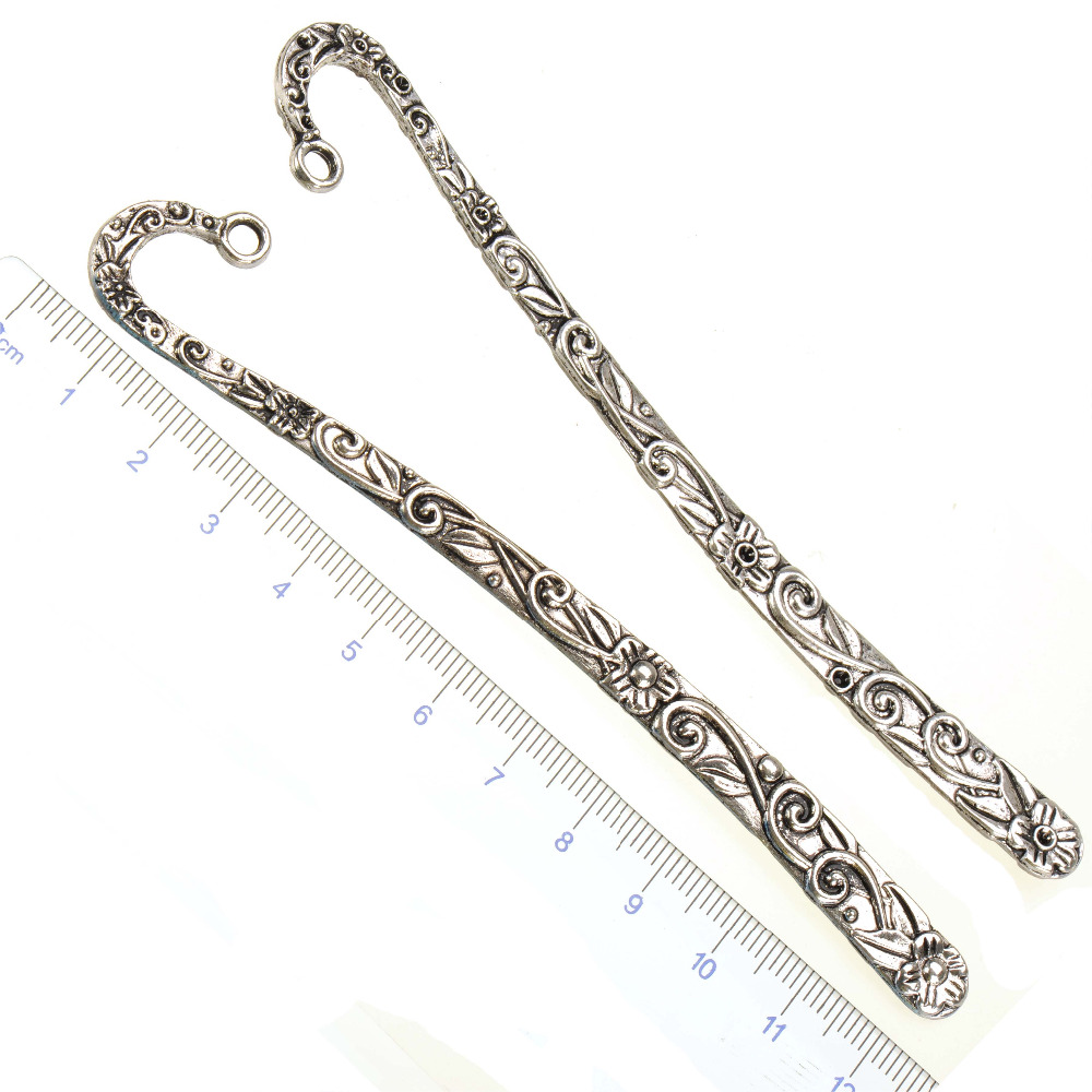Metal Bookmark Stationery Flower Diy Crystal Charms Silver Big Cruve Office School Suppliers Fashion Jewelry Findings 123mm 5pcs