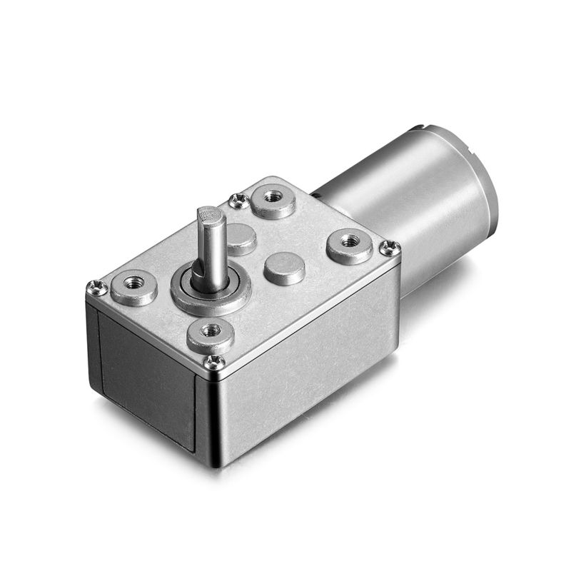 24V 55RPM Electric Metal Reversible Worm Geared DC Motor 6mm D Shaped Shaft High Torque Turbine Worm Gear Box Reduction Motor zga37rh dc 24v 25rpm 6mm shaft dia cylinder permanent magnet geared box motor
