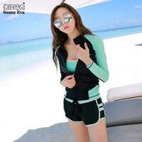 Sunny eva rashguard women solid long sleeve coat high waist bikini set rash guards beach women's swimming suit female to beach