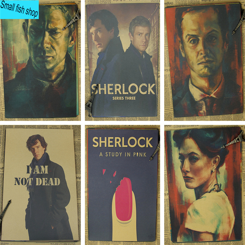 Sherlock <font><b>Holmes</b></font> American TV Series Home Furnishing decoration Kraft Movie Poster Drawing core Wall stickers