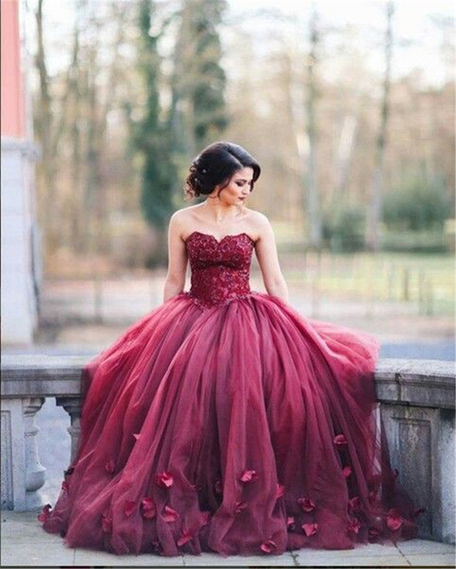 Aliexpress.com : Buy 2017 New Wine Red Lace Quinceanera Dresses ...