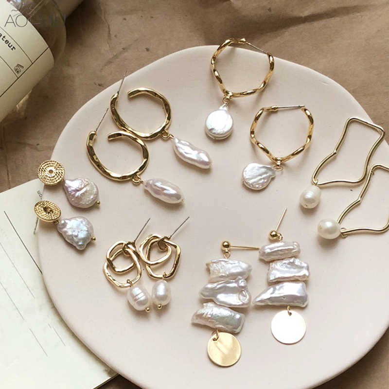 b935eea73b0 AOMU Korea Design Metal Gold Geometric Irregular Circle Square Natural  Freshwater Pearl Stud Earrings for Women
