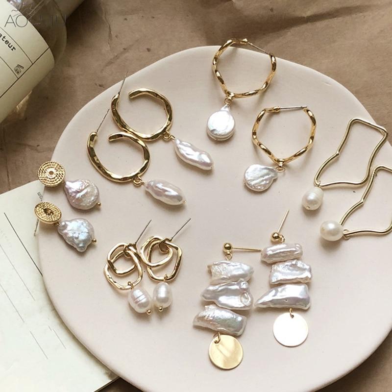AOMU корейский дизайн металлические золотые геометрические нерегулярные круглые квадратные натуральные пресноводные жемчужные серьги гвоздики для женщин подарок для девочек