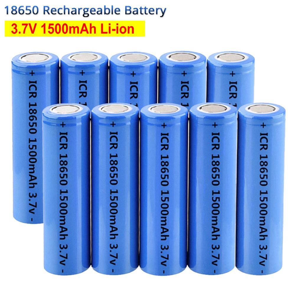 18650 Battery CR18650 Rechargeable Battery 3.7V 1500mAh Li ion Battery Cell for DIY Power Tools Battery Flashlight Headlight