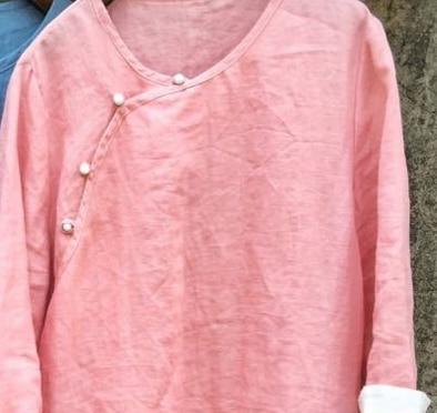 В китайском стиле ретро имитация нефрита пряжкой хит цвет с длинным рукавом sectioncardigan рубашки 18059 - Цвет: Розовый