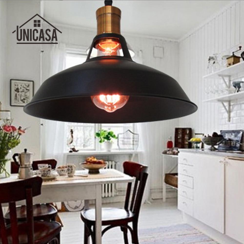 ᐃMetal negro Iluminación industrial vintage Lámparas colgantes isla ...