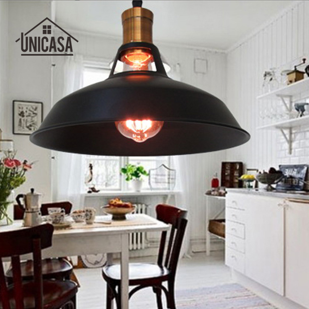 noir métal luminaires vintage industrielle pendentif lumières Îlot