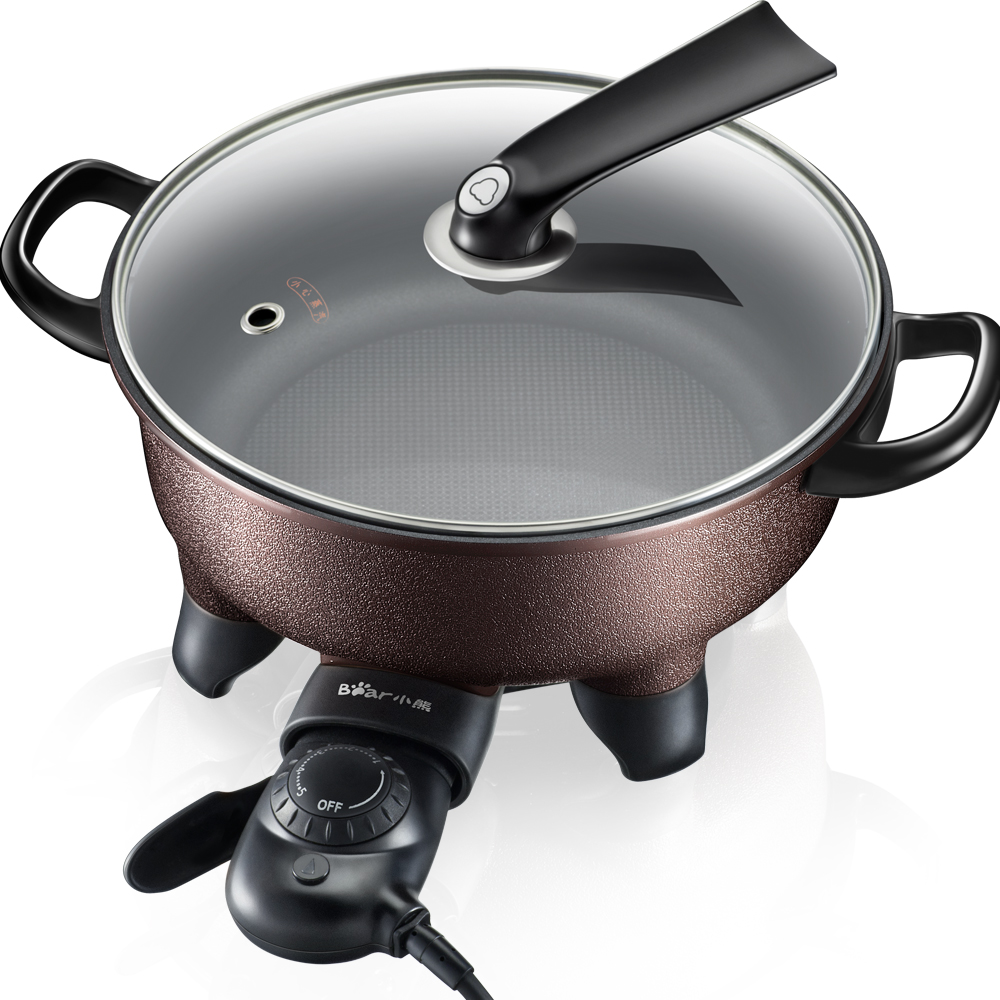 220V Electric Hot Pot Multifunctional Electric Frying Pan Non-stick 5 Gear Control Electric Cooking Machine For Family Party edtid multifunctional electric cooker mini heat pan students hot pot without oil fume nonstick frying pan special offer