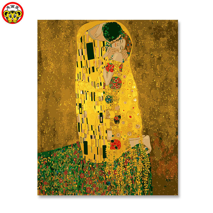 Kiss _ gustav klimt DIY Painting By Numbers Home Decoration For Living Room DIY Digital Canvas Oil Wall Art Picture For Home Wal