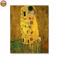 Malerei durch zahlen kunst farbe durch zahl Kuss _ gustav klimt DIY Hause Dekoration Für Wohnzimmer DIY Digitale Leinwand öl Wand Kunst