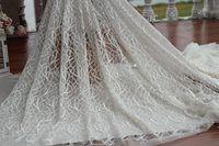Frete grátis Width150cm marfim + laço de tecido bordado floral do vintage, Casamento vestido de tecido