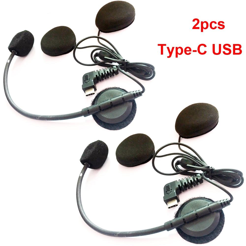 2019 New 2pcs Type-C USB Earpiece Microphone Speaker For BT-S2 BT-S3 Motorcycle Bluetooth Intercom Interphone For Open Helmet