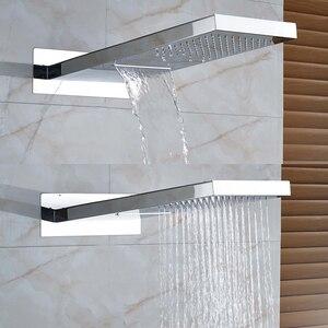 Image 2 - ラグジュアリー滝降雨真鍮シャワー蛇口ミキサーウォールマウントシングルハンドルシャワー handshower と 3 方法ミキサーバルブ