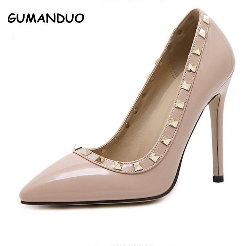 2017 Spring Valentine Shoes Women Pumps Banquet Sexy Pointed Toe Stiletto Rivets High Heels Fashion Wedding Shoes Designer genshuo 2017 women sexy valentine pointed toe stiletto high heels shoes ladies wedding dress bridal designer pumps zapatos mujer